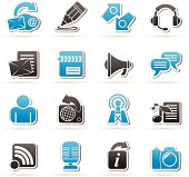Blogging, communication and social network icons