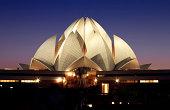 """""""lotus temple at night in delhi, india"""""""