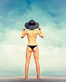 sensual fashion girl on holiday