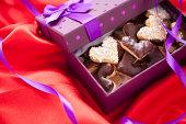 Valentine cookies in box