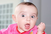 picture of a cute girl looking camera with astonishment