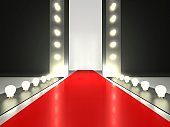 A red runway for a fashion show