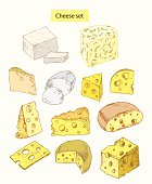 cheese set detailed illustration