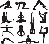 Yoga or pilates poses silhouettes