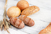 Fresh bread on vintage background