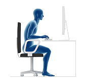 Ergonomics, wrong posture to sit and work on office desk