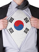 Business man with South Korean flag t-shirt