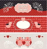 Set of Valentine's day horizontal banners