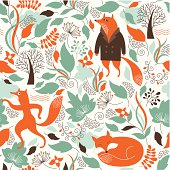 seamless pattern with the cute  foxes