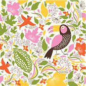 Seamless floral background with a birds