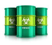 Green barrels with toxic substances