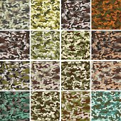 Vector Mega Set of 16 Seamless Background Camouflage Pattern