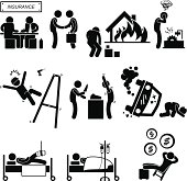 Insurance Agent Property Accident Robbery Medical Coverage Pictogram