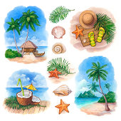 Watercolor illustrations of a tropical paradise