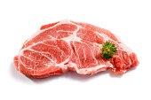Fresh raw pork on white background
