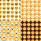 Set of seamless pattern of cheerful and happy smileys