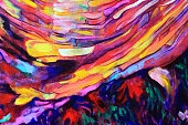 Abstract painting of shapes flowing in a circular motion