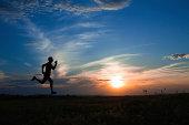Silhouette man running.