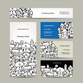 Business cards design, winter cityscape sketch