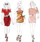 Colorful fashion women defile