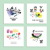 Watercolor art. Fruits, berries. Set of four creative cards.  Vector.
