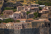 Greece, view of stone houses of Monemvasia island.
