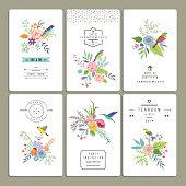 Floral collection of romantic invitations.