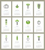 Template for calendar 2015. Vegetables. Icons. Isolated. Vector