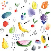 Seamless pattern with fruits, berries. Watercolor art.
