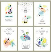 Watercolor art. Fruits, berries, sweets. Set of six creative cards.
