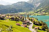 Village on the Lake Lungern in Switzerland