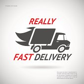 Fast Delivery Symbol Shipping Truck Silhouette Icon Design Template Vector