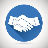 Partnership Symbol Handshake Icon Template Silhouette on Stylish Background Modern