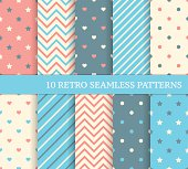 Set of retro different seamless patterns.