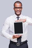 Copy space on his digital tablet.