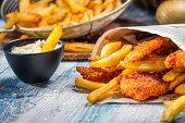 Closeup of homemade Fish & Chips