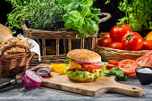 Fresh vegetables as ingredients for homemade hamburger