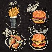 Retro vintage style fast food designs.