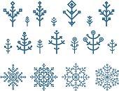 Different snowflake elements set