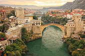 Town of Mostar with Stari Most, Bosnia and Hercegovina