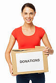 Confident Woman Carrying Donation Box