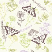 Seamless vector pattern with  butterflies, herbs and flowers