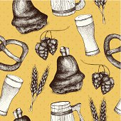 Vintage background with ink hand drawn food illustration.