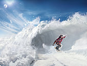 Snowboarding in Snow Wave