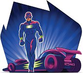 Superhero. Supercar. Vector illustration on a background