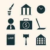 Legal, law and justice icon set