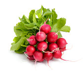 Heap of a garden radish on a white background isolated