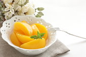 Peach and mint on bowl