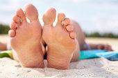 Resting barefoot