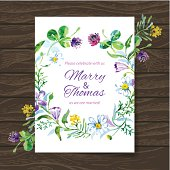 Wedding invitation card with watercolor floral bouquet